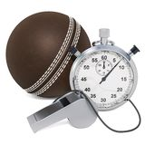 Cricket ball with whistle and stopwatch, 3D rendering. Isolated on white background royalty free illustration