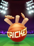 Cricket Ball with Wicket Stumps on stadium. Stock Photos