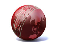 Cricket Ball World Map. An red leather cricket ball with a world map projected onto it on an  on a white background Royalty Free Stock Image
