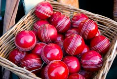 Cricket Balls. In a basket on a market stall royalty free stock photography