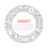 Cricket banner with line icons of ball, bat, field, wicket, helmet, apparel and other equipment. Vector circle Royalty Free Stock Image