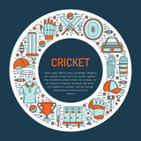 Cricket banner with line icons of ball, bat, field, wicket, helmet, apparel and other equipment. Vector circle Royalty Free Stock Photography