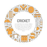 Cricket banner with line icons of ball, bat, field, wicket, helmet, apparel and other equipment. Vector circle Stock Photos