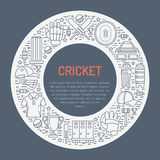 Cricket banner with line icons of ball, bat, field, wicket, helmet, apparel and other equipment. Vector circle Royalty Free Stock Photos