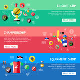 Cricket Banner Set Royalty Free Stock Photos