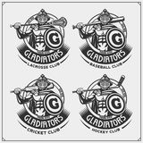 Cricket, Baseball, Lacrosse And Hockey Logos And Labels. Sport Club Emblems With Gladiator. Print Design For T-shirt. Royalty Free Stock Photo