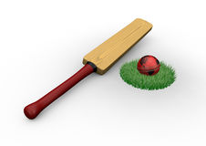 Cricket bat and ball. Render of a cricket bat and ball in a patch of grass vector illustration