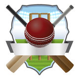 Cricket Bat and Ball Badge Illustration. Cricket bats and ball in front of a wicket and athletic badge. Vector EPS 10 available. EPS contains transparencies and stock illustration