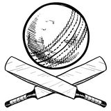 Cricket bat and ball drawing. Doodle style cricket sports equipment in vector format including ball and bat stock illustration