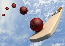Cricket Bat With Ball Flight Path. A floating cricket bat hitting a red leather cricket ball along a curve against a blue sky stock illustration