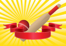 cricket bat and ball with rays Royalty Free Stock Images