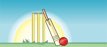 Cricket Bat, Ball & stumps Stock Photo