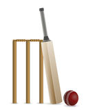 Cricket Bat, Ball, and Wicket Illustration Stock Images