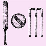 Cricket bat, ball, wicket Royalty Free Stock Photos