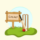 Cricket bat, ball and wicket stumps. Stock Photo