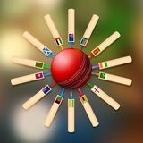 Cricket bat of different participating countries Royalty Free Stock Photo
