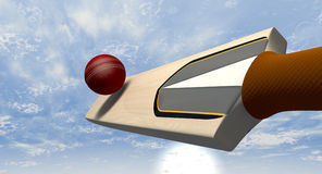 Cricket Bat Striking Ball Royalty Free Stock Images