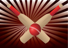 Cricket bats and ball with  rays Royalty Free Stock Image