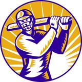 Cricket batsman batting front view Royalty Free Stock Photos