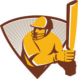 Cricket Batsman Batting Shield Retro Stock Photography