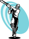 Cricket batsman batting woodcut Stock Photography