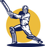 Cricket batsman batting woodcut Stock Photo
