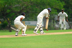 Cricket batsman and a catcher Stock Image