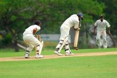 Cricket batsman and a catcher Stock Image