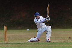Cricket Batsman Drives Ball Royalty Free Stock Image