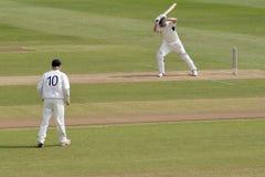 Cricket batsman and fielder Royalty Free Stock Photo