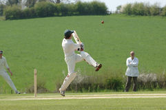 A Cricket batsman hitting the ball. Action shot of a cricket match stock images