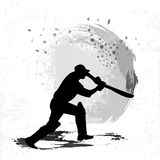 Cricket Batsman in playing action. Royalty Free Stock Photo