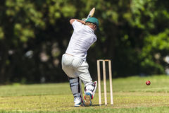 Cricket Batsman Strike Ball Stock Photo