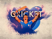 Cricket Batsman in winning pose for Sports concept. Royalty Free Stock Photography