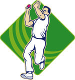 Cricket Bowler Bowling Ball Front Stock Photo