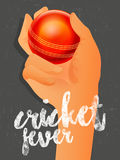 Cricket Bowler hand with ball. Stock Images