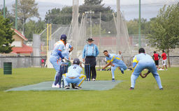 A local cricket match with focus on the Bowler Stock Photo
