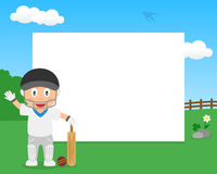 Cricket Boy in the Park Horizontal Frame Stock Photo