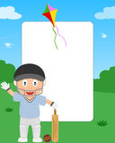 Cricket Boy Photo Frame. Photo frame, invitation card or page for your scrapbook. Subject: a boy playing cricket in a park. Eps file available Stock Photography