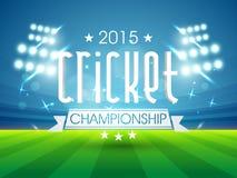 2015 cricket championship text. Sports of cricket concept with 2015 Cricket Championship text shining in night stadium lights background Royalty Free Stock Photos