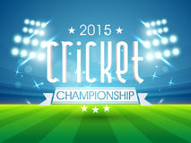2015 cricket championship text. Sports of cricket concept with 2015 Cricket Championship text shining in night stadium lights background Stock Photos