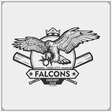 Cricket club emblem with falcon head. Print design for t-shirts. royalty free illustration