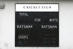 Cricket club score board blank batsman and wickets stock photography
