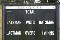 Cricket club scoreboard royalty free stock photos