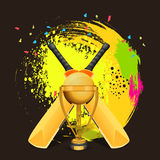 Cricket concept with bat and winning trophy. Stock Photos