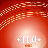 Cricket concept with text. Cricket 2015 text on red cricket ball background Stock Photo