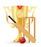 Cricket cup winner gold stock vector illustration Stock Photography