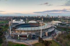 Cricket de Melbourne rectifié d'un ballon Images stock