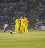 Cricket Drinks Break. Players take drinks during the India Australia One Day international in Mohali Stock Photo