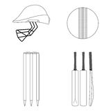 Cricket equipment icons set. Sketch black outlined illustration isolated on white Stock Photo